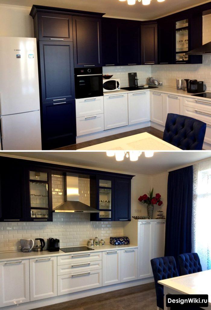 Дизайн кухни в двух цветах