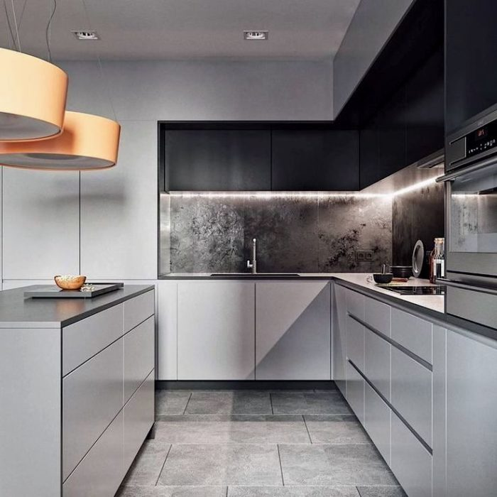 Дизайн кухни в квартире с элементами стилей минимализм и лофт