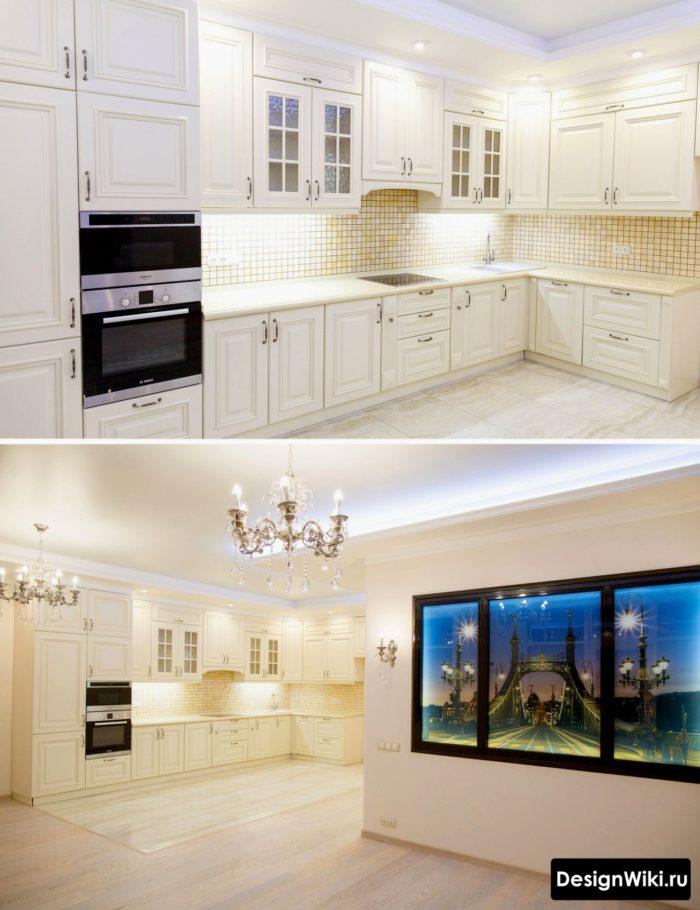 Дизайн кухни в классическом стиле и белом цвете