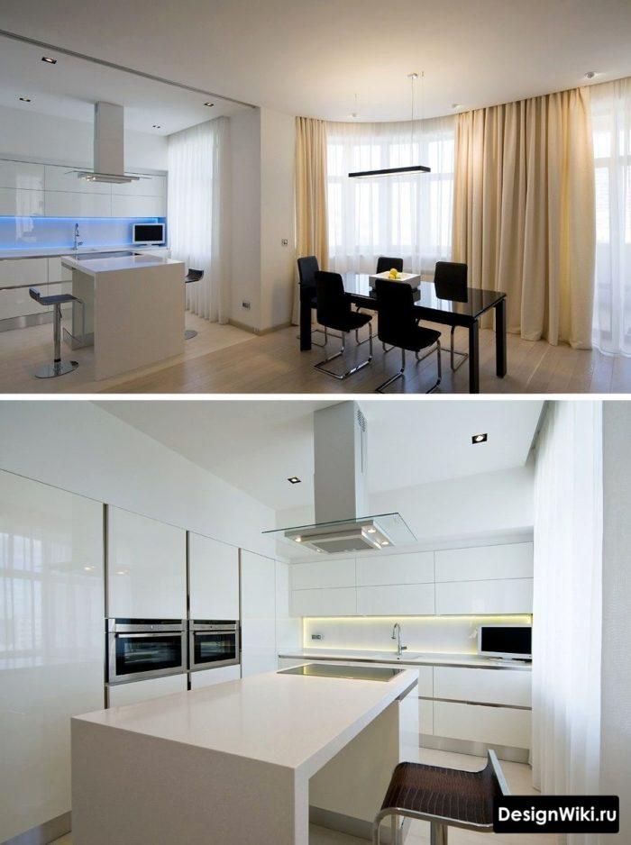 Дизайн кухни с гостиной в стиле минимализм
