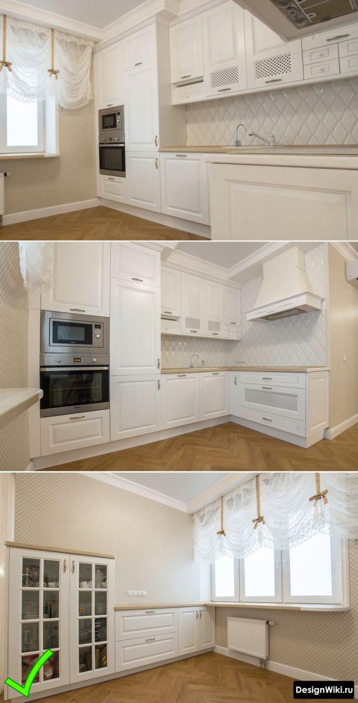 Дизайн кухни с обоями в стиле современная классика