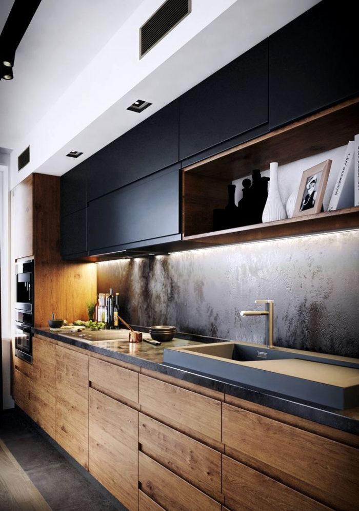 Дизайн кухни с темным деревом и черным цветом