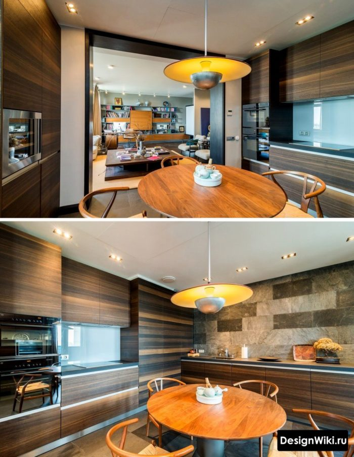 Дизайн кухни с фасадами из тёмного ореха
