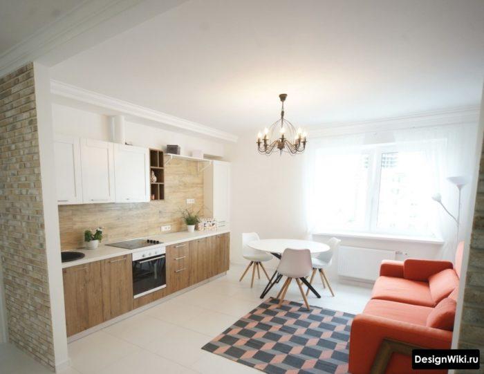 Дизайн кухни частично без верхних шкафов