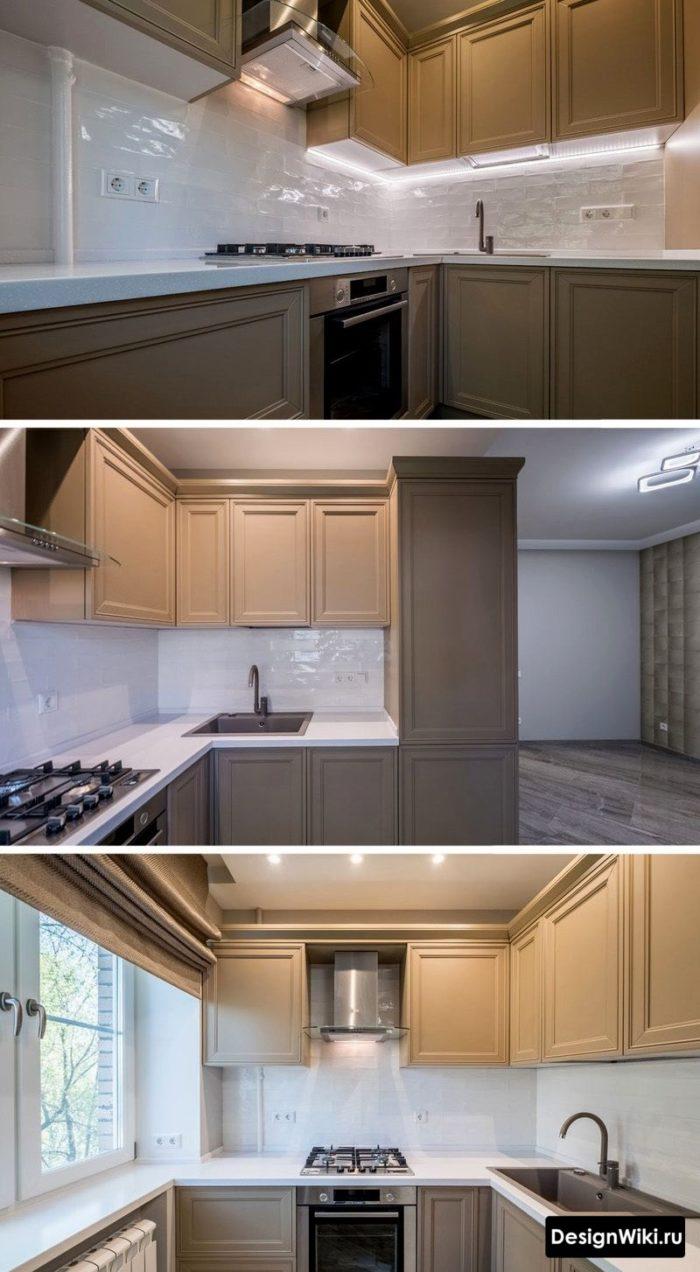Дизайн маленькой серой кухни в стиле неоклассика