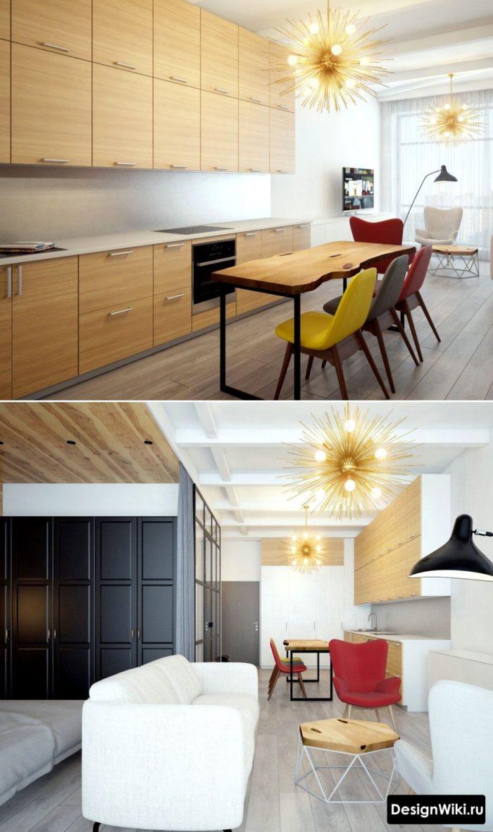 Дизайн необычно высокой кухни с элементами модерна