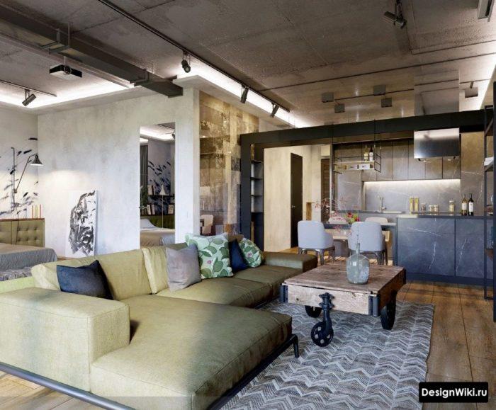 Интерьер кухни в стиле лофт с бетонным потолком