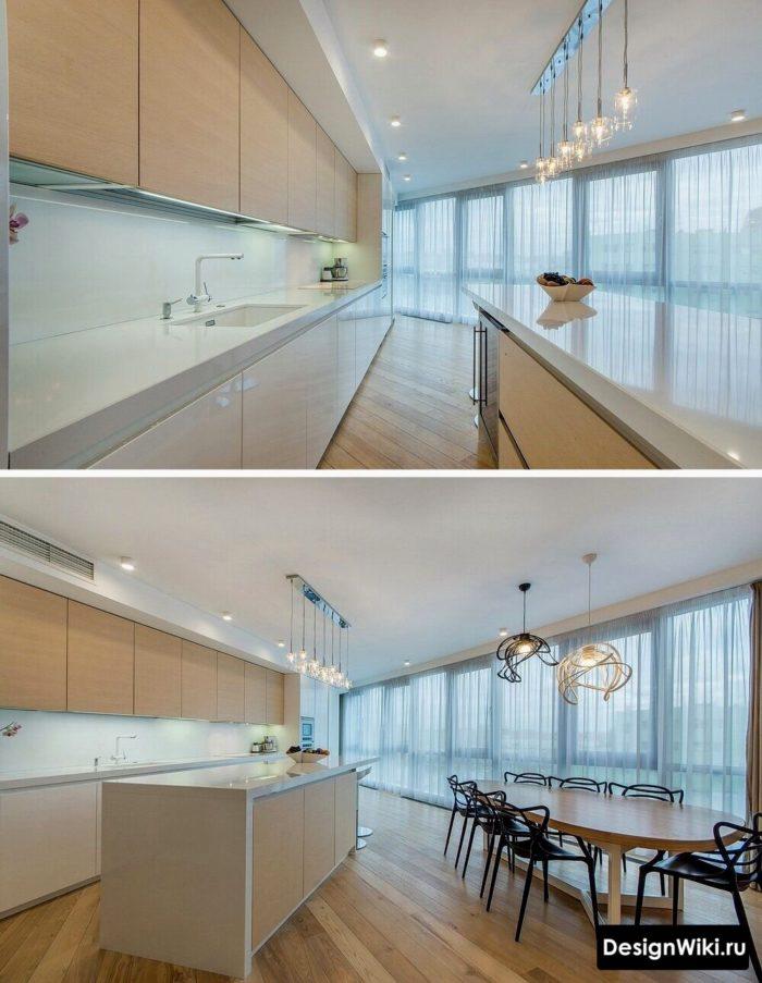 Интерьер просторной кухни-гостиной в современном стиле