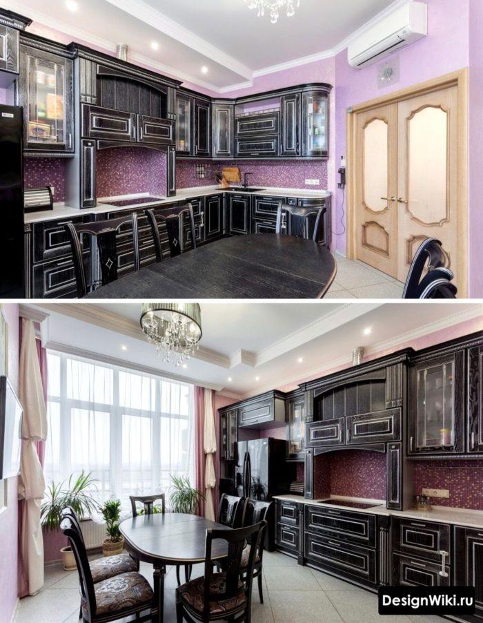 Классический дизайн кухни в черном цвете
