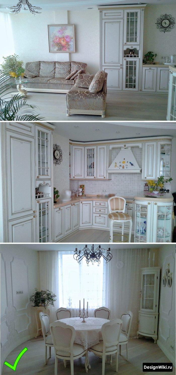 Комбинация обоев в рамках в классическом интерьере кухни со столовой