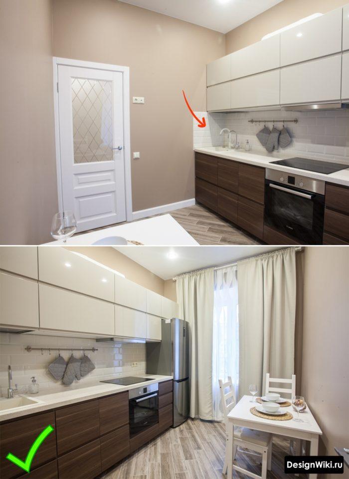Коричневые обои цвета как в современной кухне