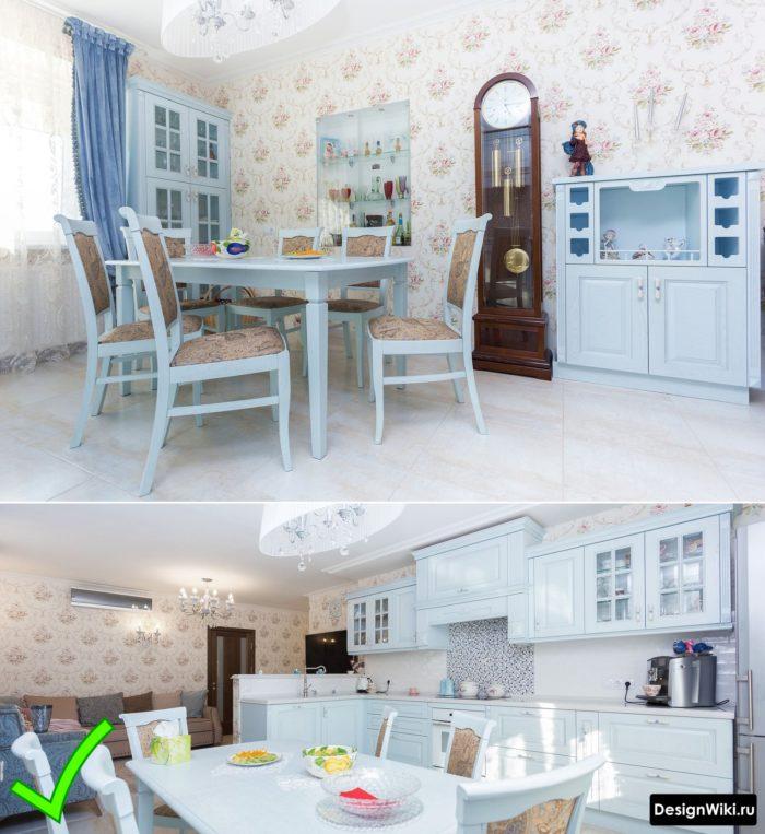 Красивые обои с узором в голубой кухне в стиле пованс