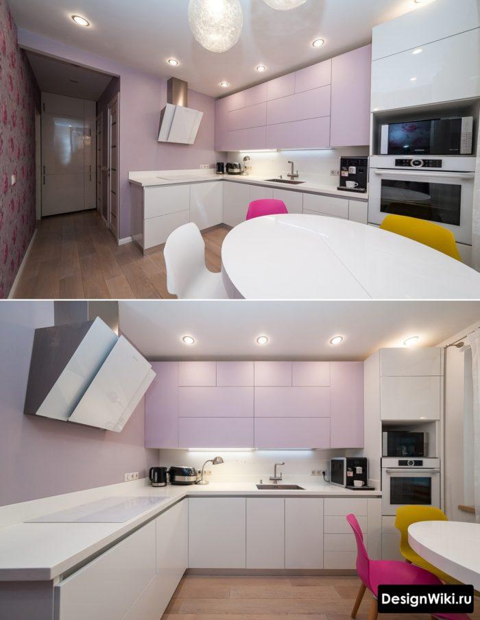 Красивый дизайн угловой кухни без навесных шкафов с одной стороны
