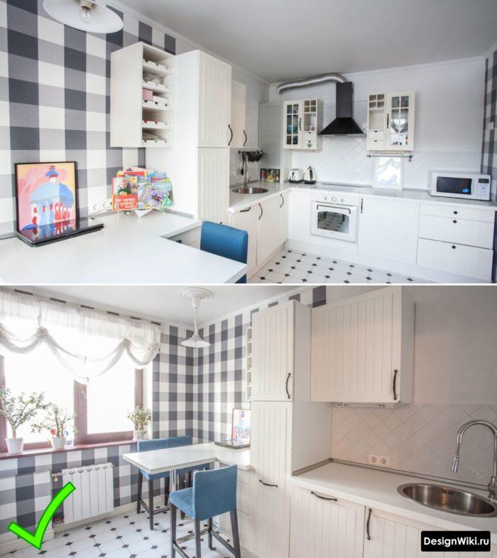 Кухня в скандинавском стиле с обоями в бело-серую клеточку