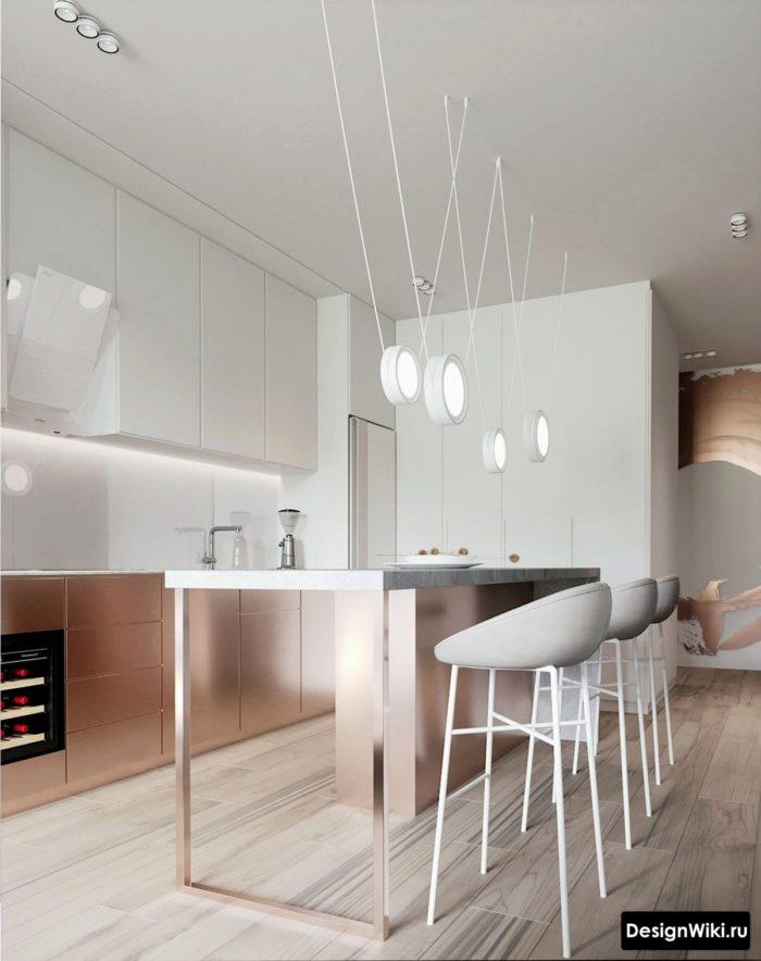 Кухня в современном скандинавском стиле до потолка
