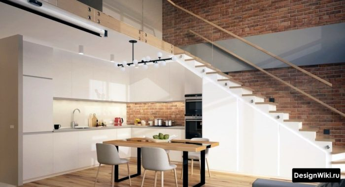 Кухня в стиле минимализм в двухуровневой квартире