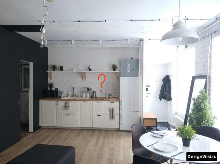 Кухня в стиле скандинавский лофт без верхних шкафчиков и без вытяжки