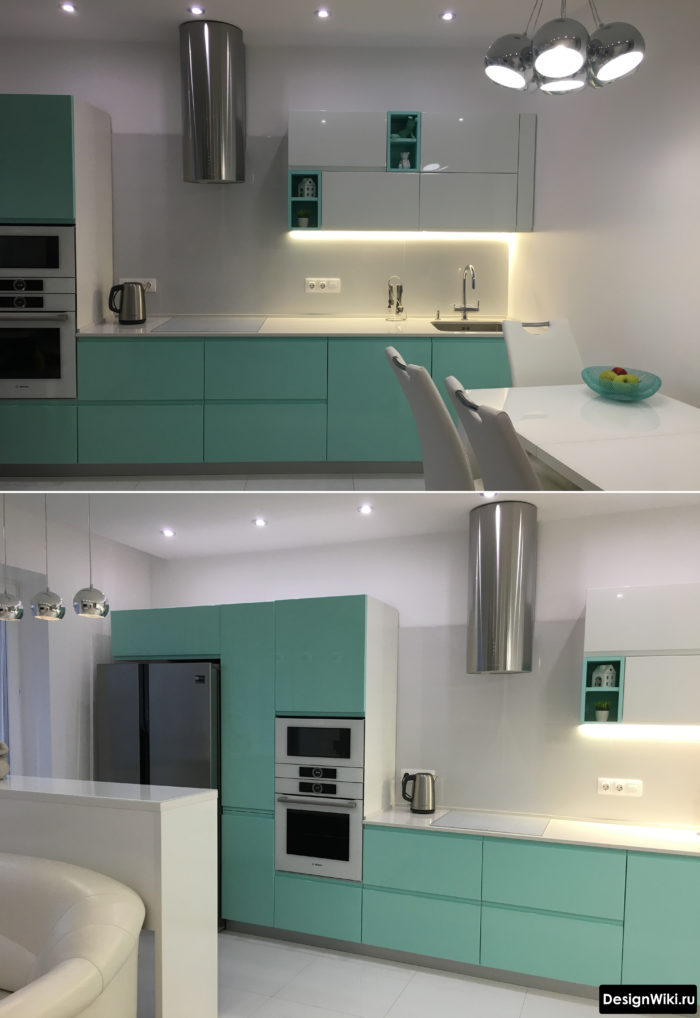 Кухня мятного цвета частично без верхних шкафов
