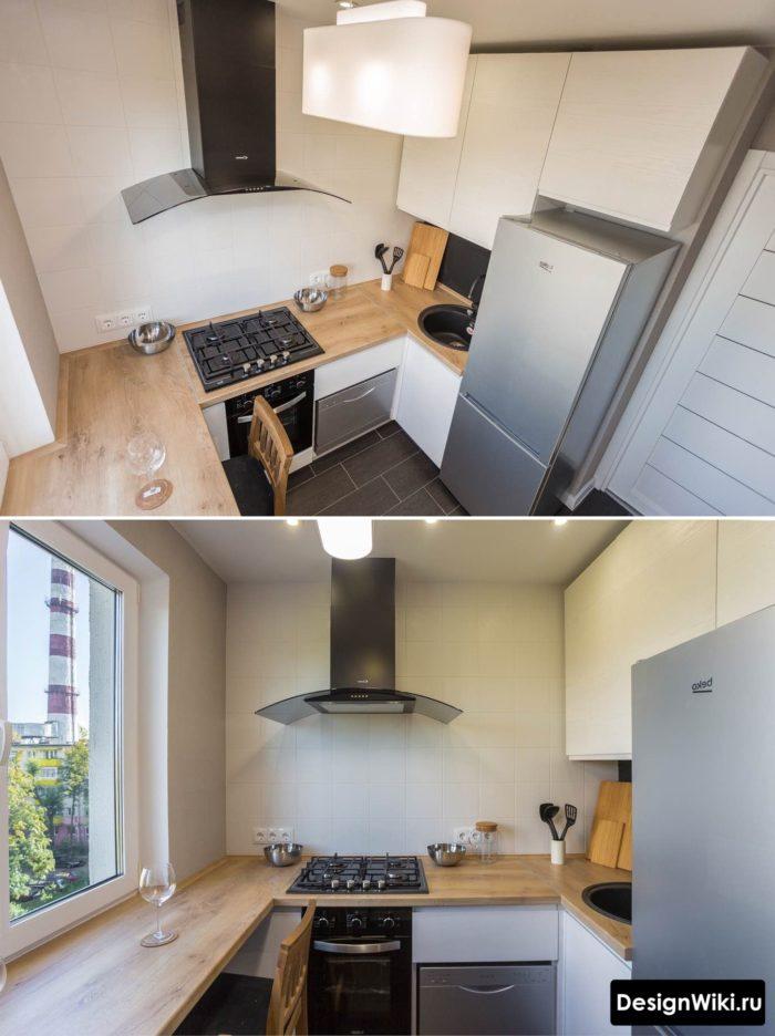 Маленькая угловая кухня без навесных шкафов с одной стороны