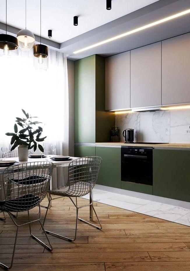 Матовые зелёные шкафы в современной кухне