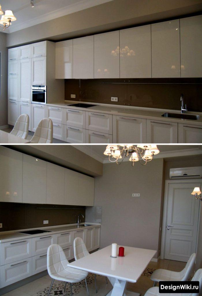 Необычное дизайнерское решение с глянцевыми фасадами кухни в стиле неоклассика