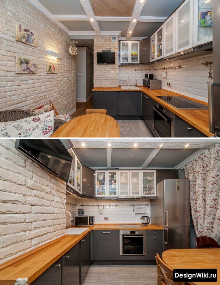 Нестандартное решение для кухни с тёмно-серыми фасадами