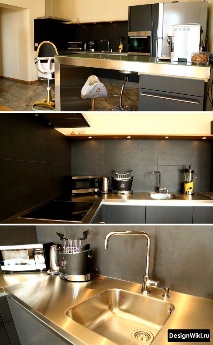 Нестандартный дизайн кухни со столешницей из нержавейки