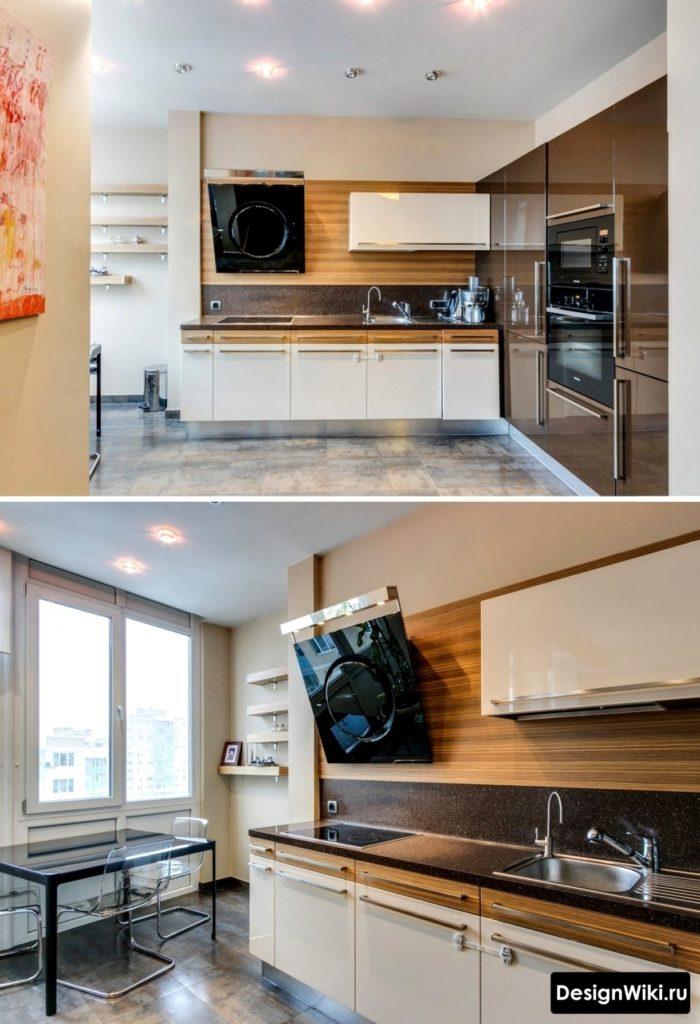 Нестандартный интерьер кухни с двухцветными нижними шкафами
