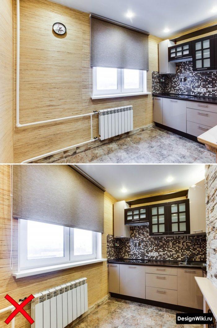 Обои песочного цвета для маленькой серой кухни в типовой квартире