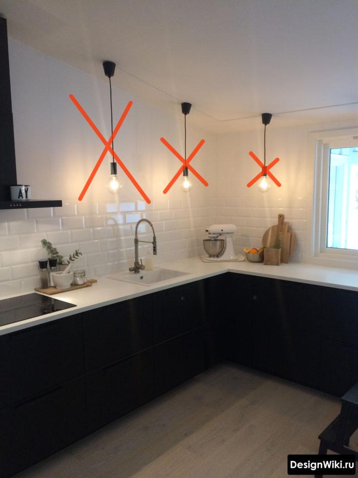 Ошибка в освещении кухни без верхних шкафов