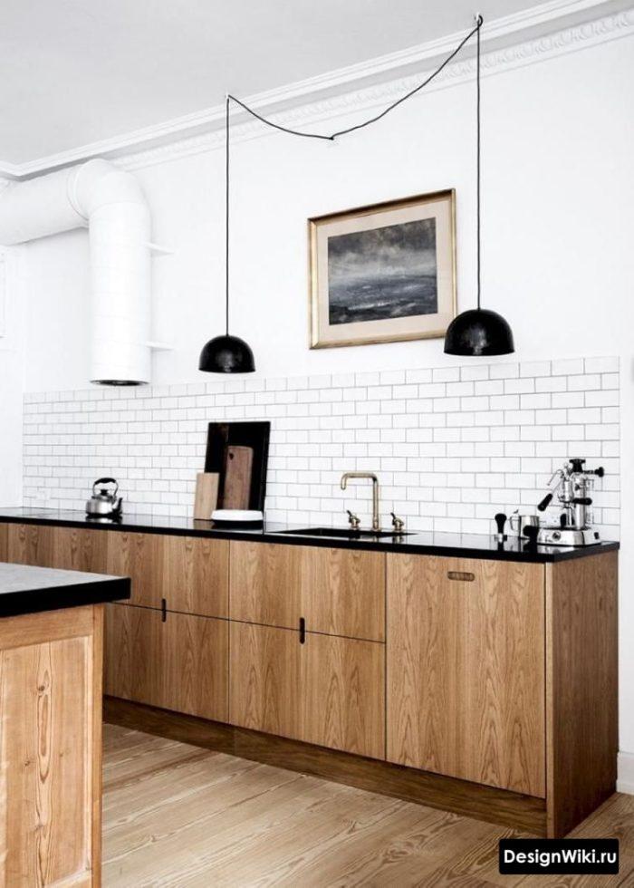 Подвесные светильники в кухне без верхнего ряда шкафов