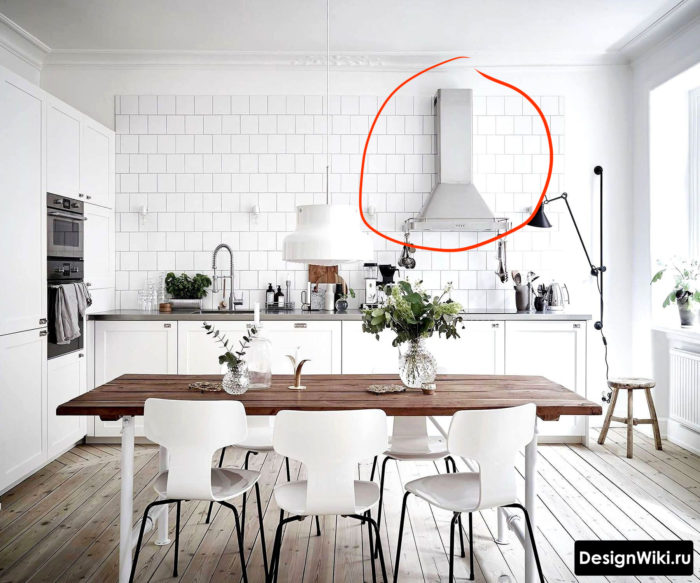 Проблемы с размещением вытяжки для кухни без верхних шкафов