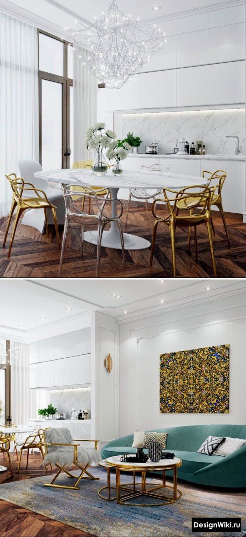 Простой дизайн кухни с дорогими декорами и мебелью