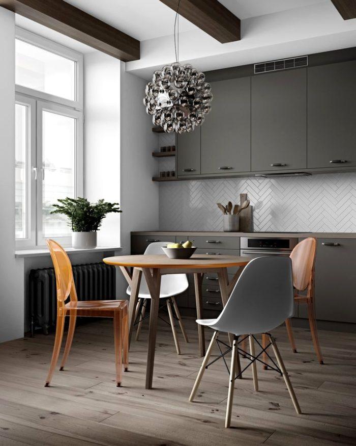 Серая современная кухня в скандинавском стиле