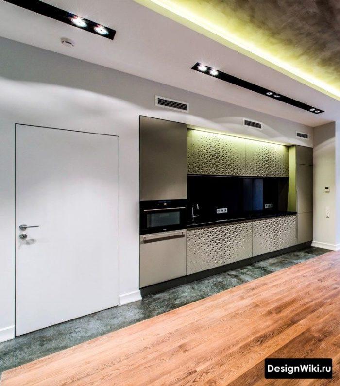Серебристые 3д фасады встроенной кухни
