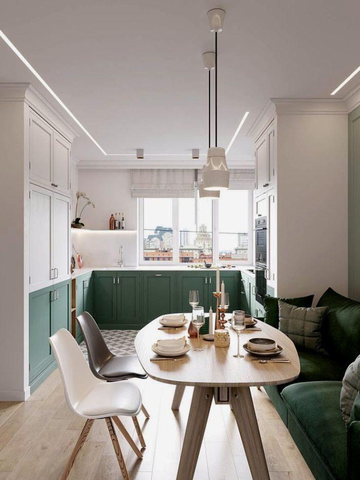 Скандинавский интерьер кухни с бирюзовыми фасадами