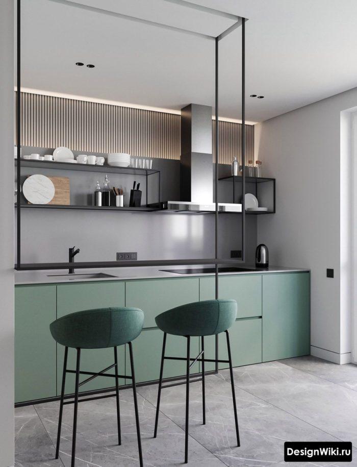 Современная кухня без верхних шкафов с открытыми полками