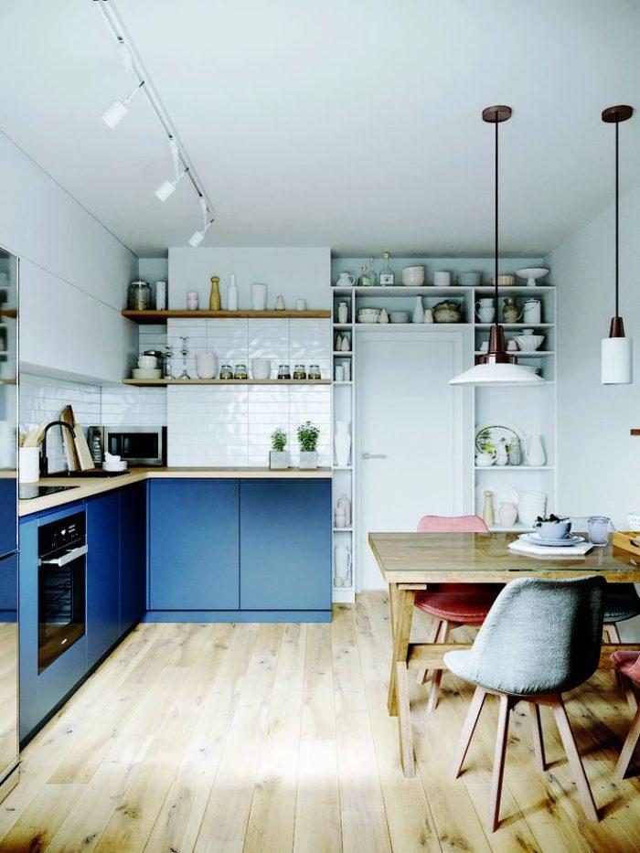 Современный дизайн кухни в скандинавском стиле и синем цвете