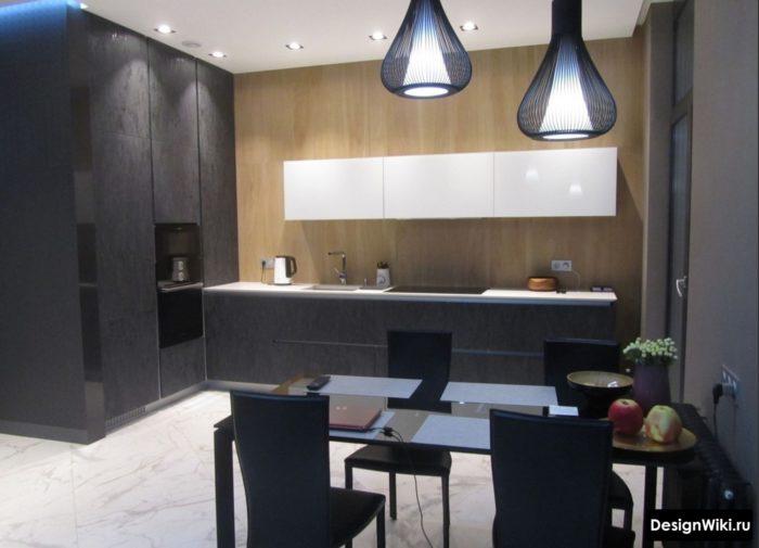 Современный дизайн кухни с открытой стеной
