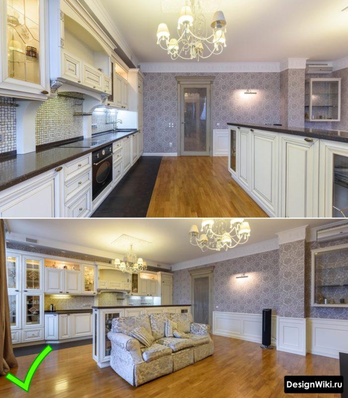 Стильные моющиеся обои на кухне в стиле современная классика