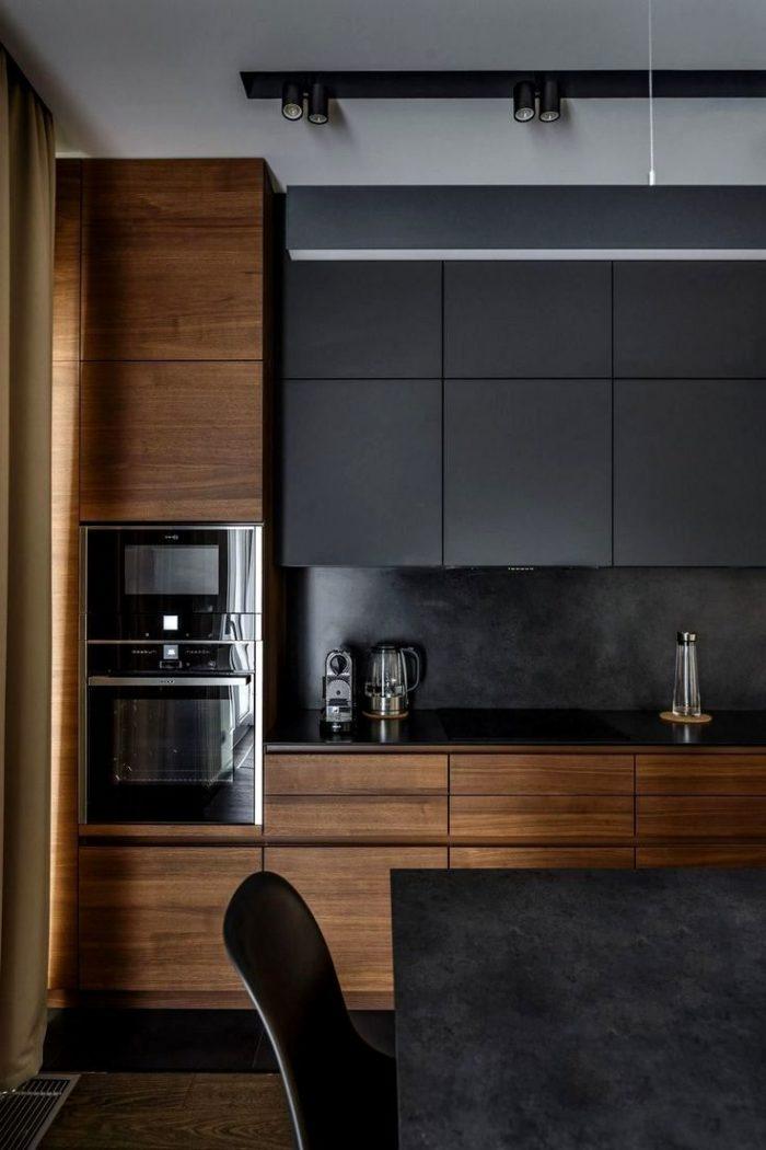 Темный дизайн кухни в современном стиле