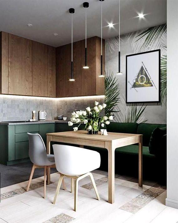 Тёмно-зелёный цвет в дизайне кухни