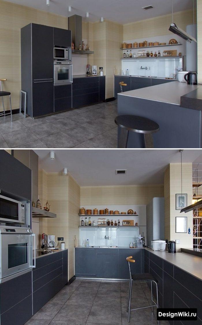 Угловая кухня с пеналом без навесных шкафчиков с одной из сторон