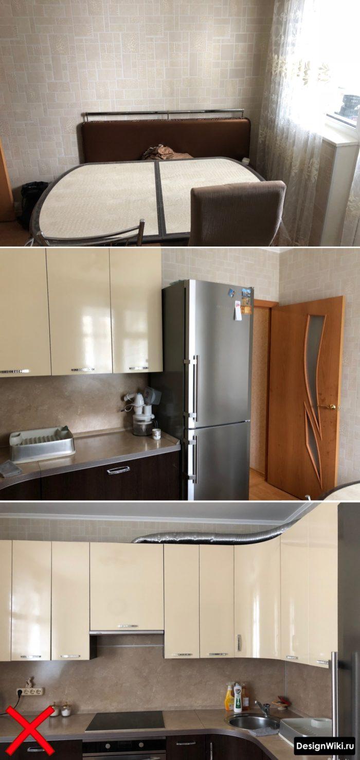 Устаревший дизайн обоев для кухни с мелкими прямоугольниками