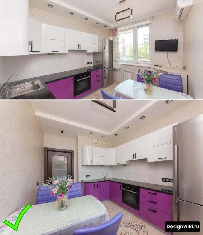 Фоновые бюджетные обои для кухни в ярко-фиолетовом цвете