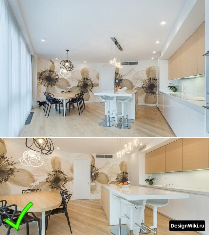 Фотобои с большими цветами в интерьере современной кухни