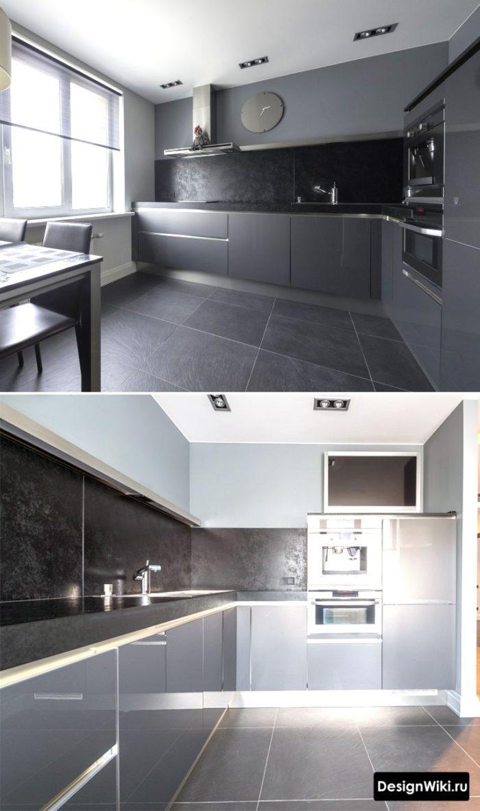 Черная кухня в 1 ярус с пеналом