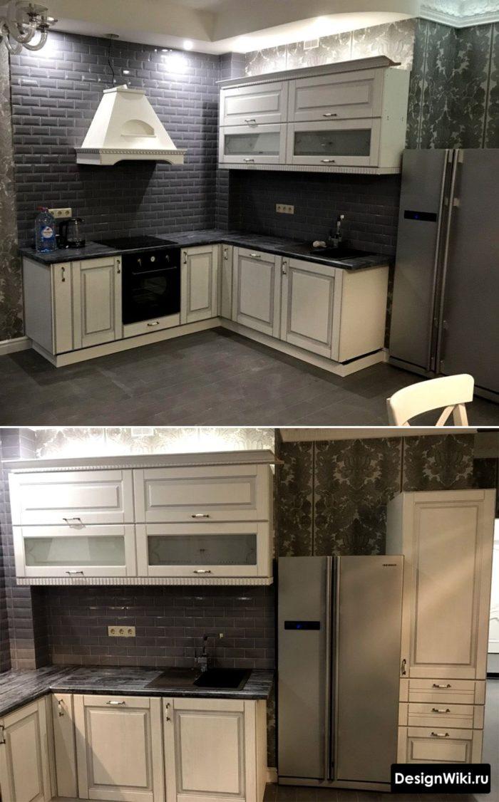 Чёрно-белая кухня в стиле неоклассика