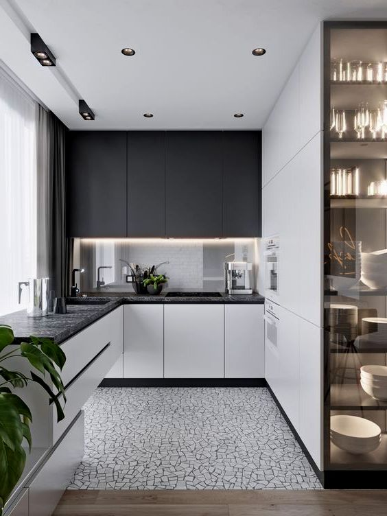 Чёрно-белый интерьер кухни в стиле минимализм