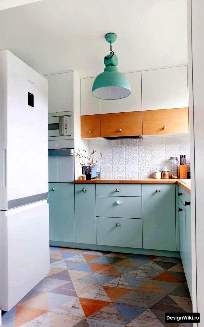 дизайн проект кухни в скандинавском стиле с яркими цветовыми акцентами